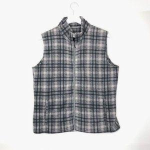 Woolrich Fleece Plaid Zip Front Vest in Frost Hunt